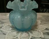 Fenton Blue Ruffle Vase/Bowl