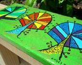 trivet Green Kaleidoscope Trees painting on tile spoon rest
