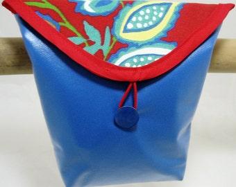 Vivid Periwinkle Blue Bicycle Handlebar Bag with Red Floral Flap  2702