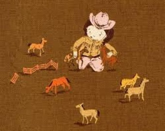 KOKKA Brown Cowgirl Cowgirls Horses Heather Ross Far Far Away 3 Fabric 1/2 Yard cotton/linen