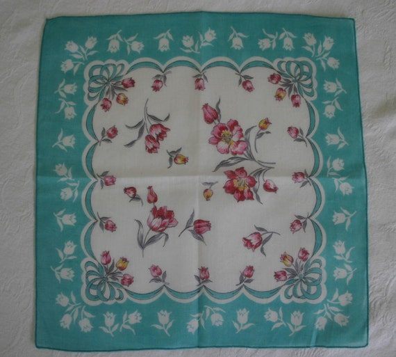 Vintage teal green and white floral linen hankie / pink accents