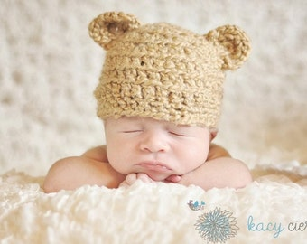 crocheted infant teddy bear hat