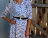 50's Dress White with Navy Polkadots