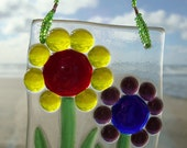 Happy Flowers Fused Glass Ornament