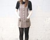 SUMMER SALE- Vintage 90s Gray Snap Plaid Jumper Dress