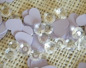 Lot of 250 Table Decoration Confetti-Hearts and Jewels Collection-You choose your heart color- Faux Diamonds for Decorating your DIY Wedding