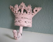 Wall Hook -Pink Distressed Crown -Shabby Light Pink Cast Iron - Girls - Nursery - Princess Decor