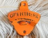 SALE Orange Bottle Opener - Wall Mount - Bar Accessory Man Cave - Groomsmen Gift - Last Minute Gift for Him - Stocking Stuffer