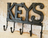 Wall Hook Key Holder- Key Hook - Key Rack - Black Gloss -Cast Iron - New Home Housewarming - Organization - Holiday Gift - For Him For Her