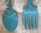 Fork and Spoon Wall Art- Rustic Turquoise Blue Fork and Spoon Oversize - Chef Gift- cast Iron - Distressed - Kitchen Restaurant Decor