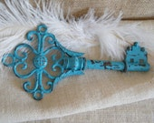 Skeleton Key Wall Art Metal - Housewarming Gift - Turquoise Blue Distressed and Rustic Key Wall Art-Chippy-Shabby Cottage Decor