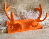 SALE Antler Wall Hook -Tangerine Orange cast Iron -Wood Grain Look- Lodge- Coat Rack- Jewelry Holder- Organization-Whimsical