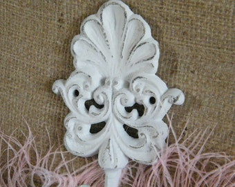 White Wall Hook - Organize - Distressed Scroll and Sea Shell Cast Iron Wall Hook - Cottage Shabby Elegance - Beach Decor
