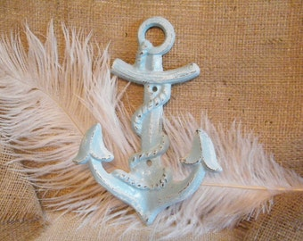 SALE Wall Hook /  Distressed Turquoise and White Anchor Wall Hook-Jewelry Holder-Cast Iron-Coastal Home Decor-Beach Cottage Decor