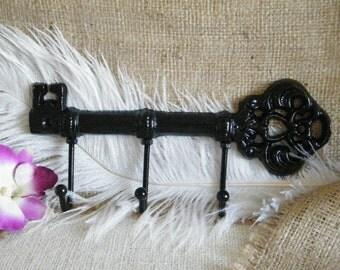 SALE Skeleton Key Wall Hook- Key Holder - Key Rack Jewelry Holder- High Gloss Black -Skeleton Key  Sophisticated and Chic -Cast Iron