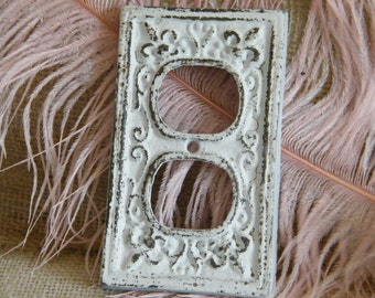 Electric Outlet Decorative Cover Plate - White Shabby Sophisticated - Nursery Decor - Metal - Fleur de Lis and Scroll -French Country