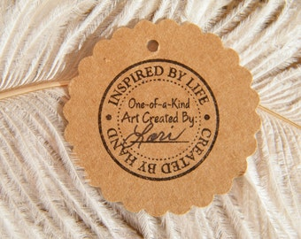 Handmade Gift Tags   Kraft Cardstock 2 Inch Circle   Hang Tag   Inspired by Life - Created By Hand - Hand Stamped   Price Tags   ecofriendly