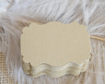 Beige tan Gift Tags / Small Escort Cards / Favor Tags / 75 Blank DIY Tags / Sand Beige / Vintage SMALL Wedding Wish treeTags / Die Cut Tag