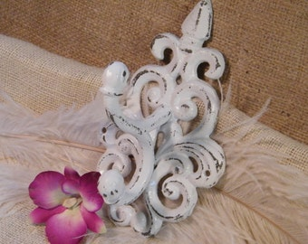 Large Double Shabby Wall Hook-Organize-White Distressed Scroll Cast Iron Wall Hook-Cottage Elegance- Chic