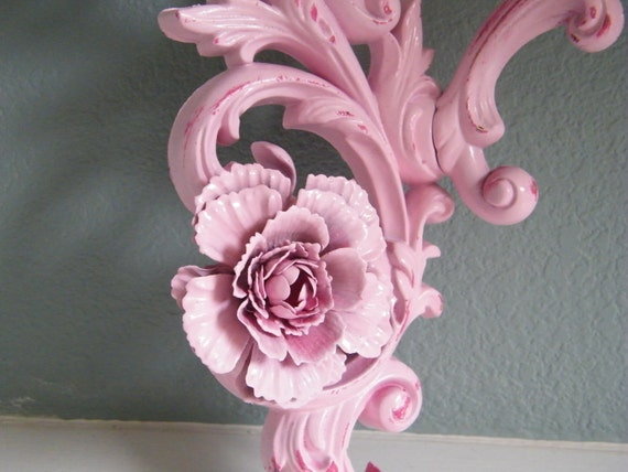 Shabby Chic Wall Candle Sconce-Cotton Candy Two Tone Pink - Chippy-Distressed-Vintage Chic-Paris Apartment Chic By Morrell Decor on Etsy