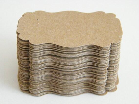 Gift Tags / SMALL Escort Cards 100 Blank - Minimalist Natural - Kraft Cardstock DIY Gift Tags - Wedding Wish Tree Cards - Die Cut