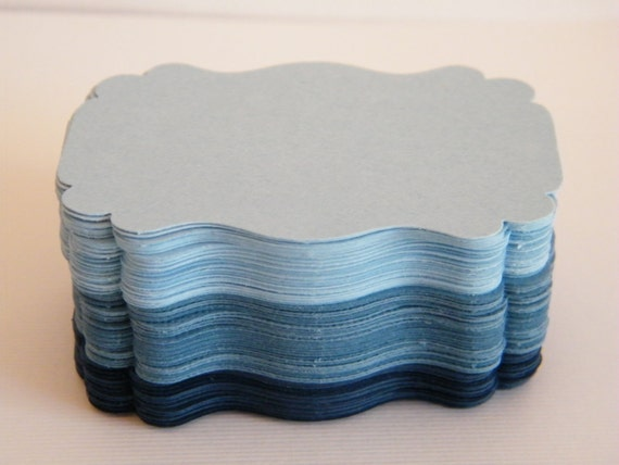 Trio of Blue - 75 Blank DIY Tags - Ombre of Light Blue Medium Blue Navy Cardstock  Favor Gift Tags-Wedding tags -Escort Cards-Favor -Die Cut