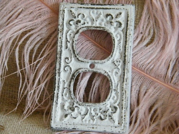 Electric Outlet Decorative Cover Plate White Shabby