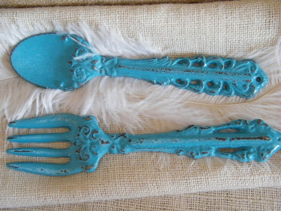 Fork And Spoon Wall Art Rustic Turquoise Blue Fork And Spoon