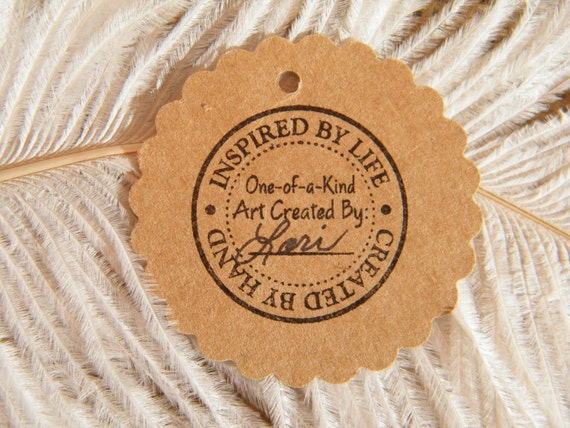 Handmade Gift Tags | Kraft Cardstock 2 Inch Circle | Hang Tag | Inspired by Life - Created By Hand - Hand Stamped | Price Tags | ecofriendly