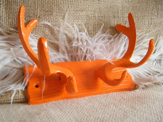 SALE Antler Wall Hook -Tangerine Orange cast Iron -Wood Grain Look- Lodge- Coat Rack- Jewelry Holder- Organization-Whimsical