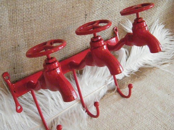 Industrial RED Wall Hook - Whimsical - Unique - Faucets - Three in One Wall Hook - Organization - Storage - Garden Art - Key Holder-Last One