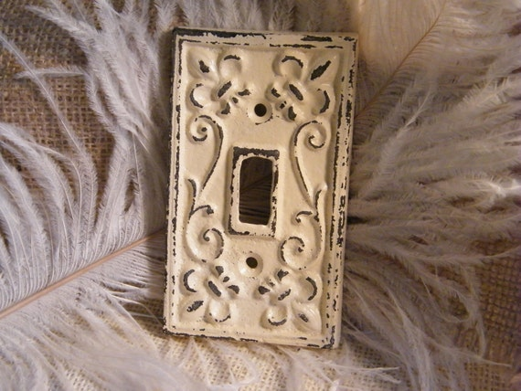 Single Light Switch Cover Decorative Plate Ivory Cream You Pick the Finish High Gloss or Distressed-Cast Iron-Fleur de Lis