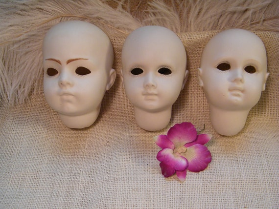 Set of 3 Porcelain Doll Heads / Altered Art Supplies / Signed / Doll Making / Doll Body Parts