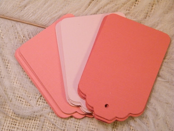 Coral and Blush Gift Tags / 150 /  Escort Cards / Hang tags / Blank / Trio Of Coral and Blush / Wedding Wish Tree Cards / Placecards