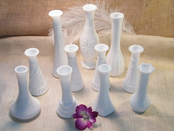 Lot of 11- Vintage Milk Glass Assorted Size Bud Vases-Instant Collection-Vintage Wedding-Table Centerpieces
