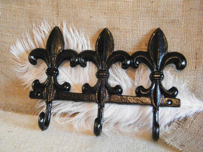 Black Wall Hook Key Holder Large 3 In 1 Fleur De Lis Wall