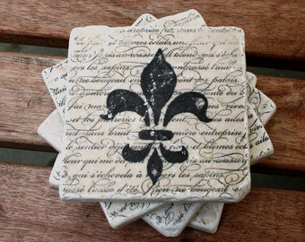 Tumbled Travertine Tile Coasters FLEUR DE LIS (set of 4)