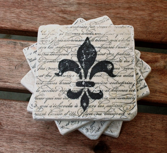 Items Similar To Tumbled Travertine Tile Coasters Fleur De