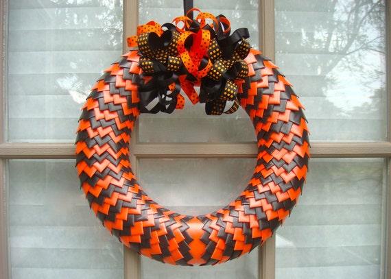 Halloween Door Wreath, Halloween Decoration, Front Door Wreath, Halloween Wreath, Black and Orange Wreath, Ribbon Wreath, Orange Ribbon
