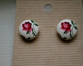 Vintage Rose Button Earrings
