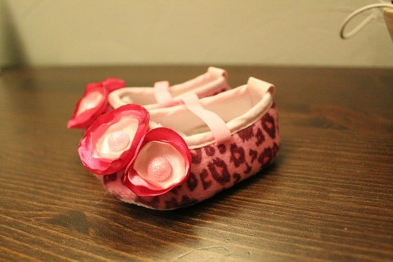 Baby Pink and Black Cheetah Print Baby Shoes With Singed Flowers-- Multiple Sizes TEXT13699321317739996