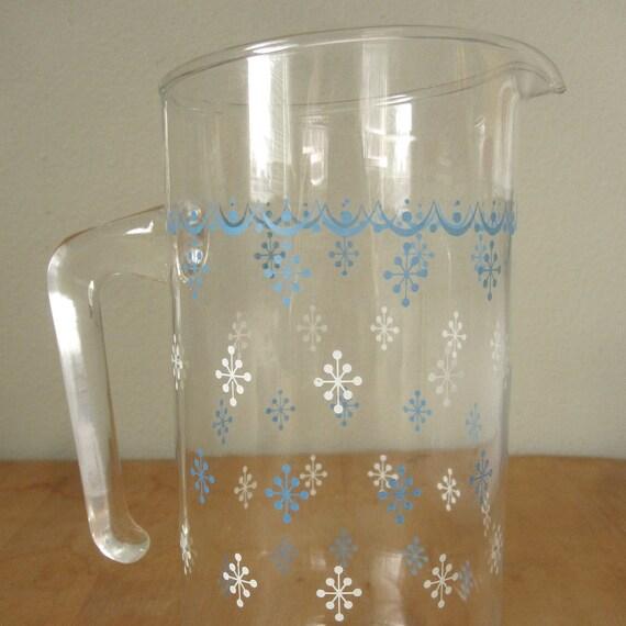 Pyrex Glass Pitcher Blue Snowflake