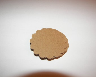 20 Kraft Scalloped Circle Punches Die Cuts Embellishments 2 inch