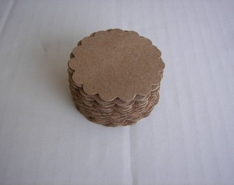 50 Kraft Scalloped Circle Punches Die Cuts Embellishments 2 inch K101
