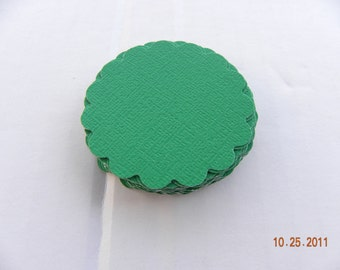 30 Green Scalloped Circle Punches Die Cuts Embellishments 2 inch --