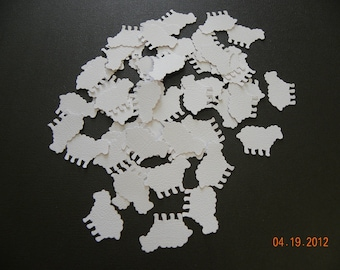 100 White Lamb or Sheep Zoo Animal Confetti Die Cuts Punches Embellishments
