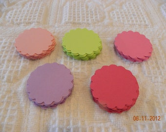 100 Spring Colors Scalloped Circle Punches Die Cuts Embellishments 2 inch --