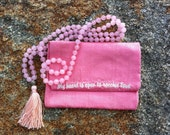 Rose Quartz Mala Prayer Beads w/ Custom Pouch - Love