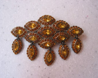 Vintage Czech Bohemian dangle brooch with amber/citrine glass stones