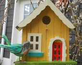 Spring Painted Birdhouse Teal, Yellow, Coral